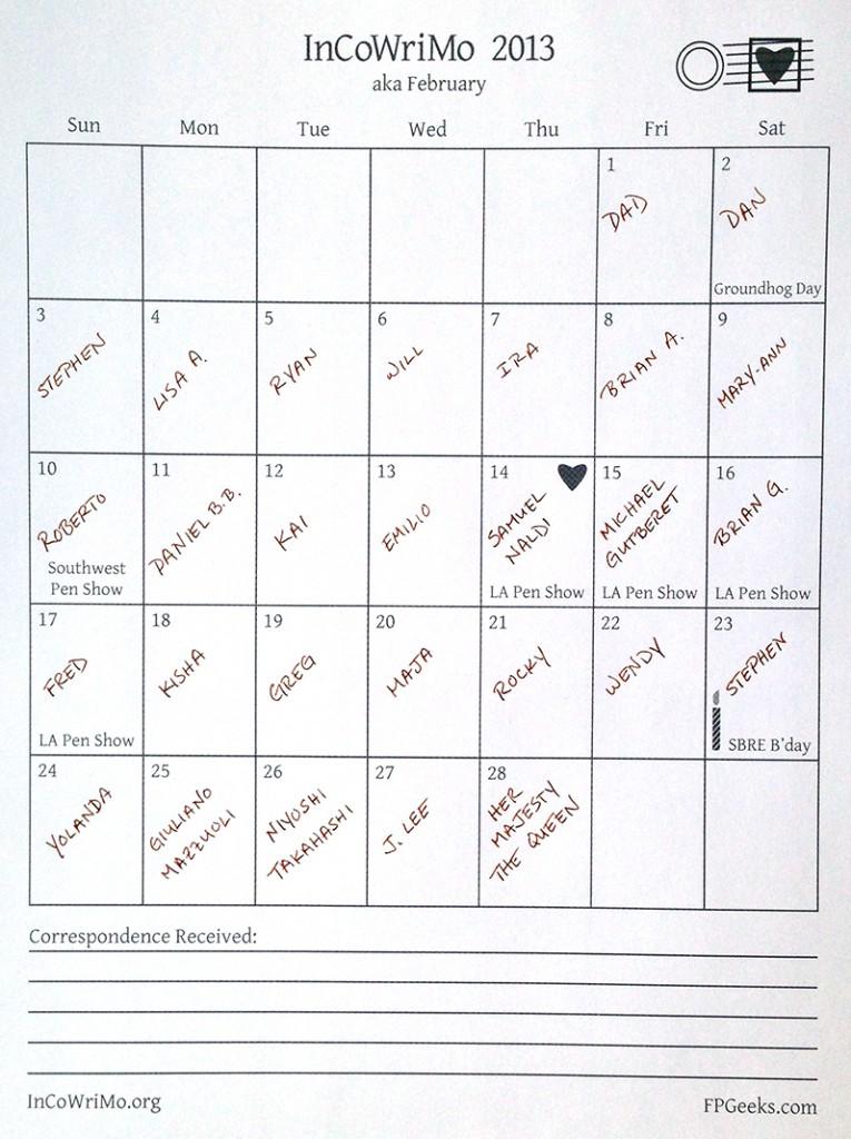 Eric InCoWriMo 2013 Calendar
